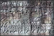 Khmer warriors depicted in bas relief, Bayon Temple, Angkor Thom, Cambodia