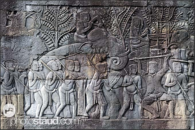 Bas relief carvings angkor wat th century khmer temple