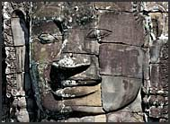 Detail of giant carved stone face of Lokeshvara, Bayon Temple, Angkor Thom, Cambodia