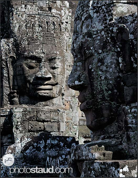 Giant carved stone faces of Lokeshvara, Bayon Temple, Angkor Thom, Cambodia