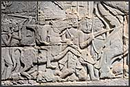 Bas relief at the Bayon Temple showing Khmer warriors, Angkor Thom, Cambodia
