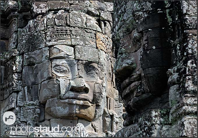 Detail of giant carved stone faces of Lokeshvara, Bayon Temple, Angkor Thom, Cambodia