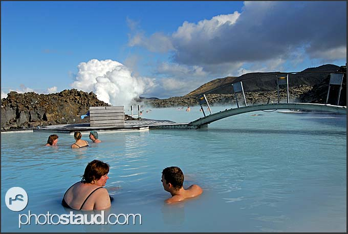 Icelanders enjoying a bath in the Blue Lagoon, Iceland