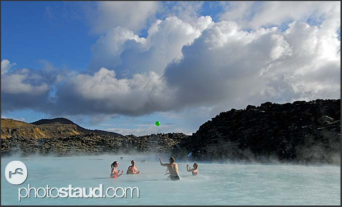 Icelandic people playing in the Blue Lagoon, Iceland