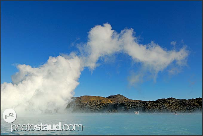 White fumes above Blue Lagoon, Iceland