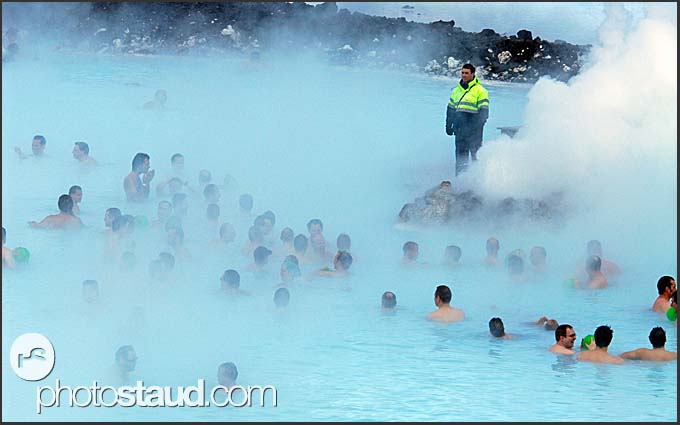 Crowds in the vapors of Blue Lagoon, Iceland