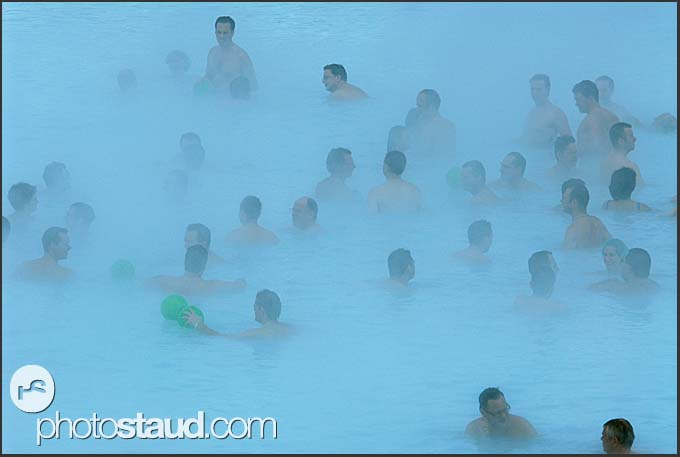 Crowds of tourists in the vapors of Blue Lagoon, Iceland