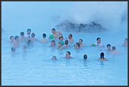 Tourists in Blue Lagoon, Iceland