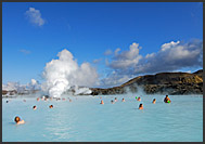 Volcanic landscape and fumes surrounding Blue Lagoon, Iceland