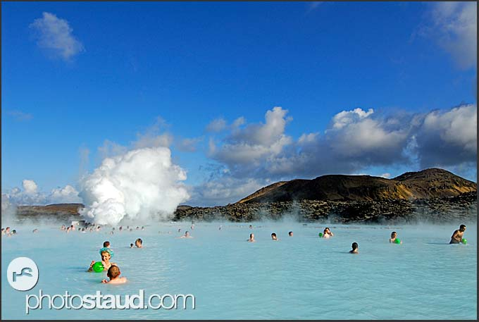 Tourists enjoying sunny day in Blue Lagoon, Iceland