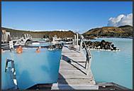 Icelanders enjoying sunny day in Blue Lagoon, Iceland