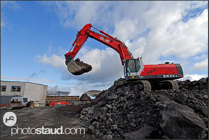 Heavy machinery enlarging and redesigning Blue Lagoon, Iceland