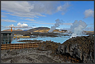 Construction works on enlarging and redesigning Blue Lagoon, Iceland