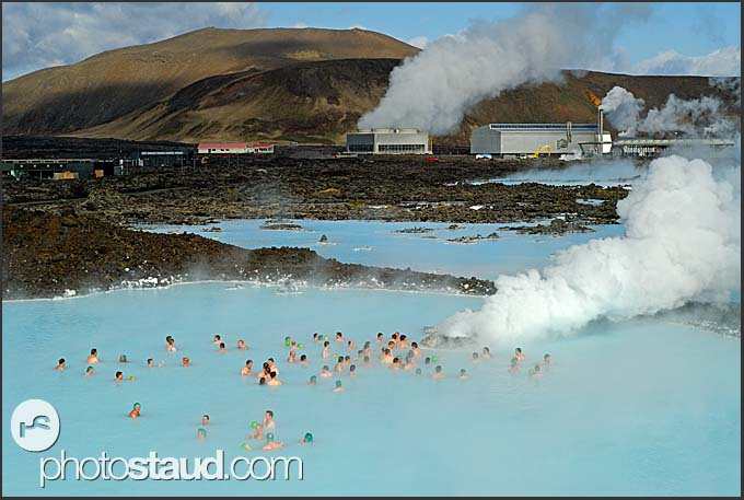 Overall view of Blue Lagoon with Svartsengi power plant in background, Iceland