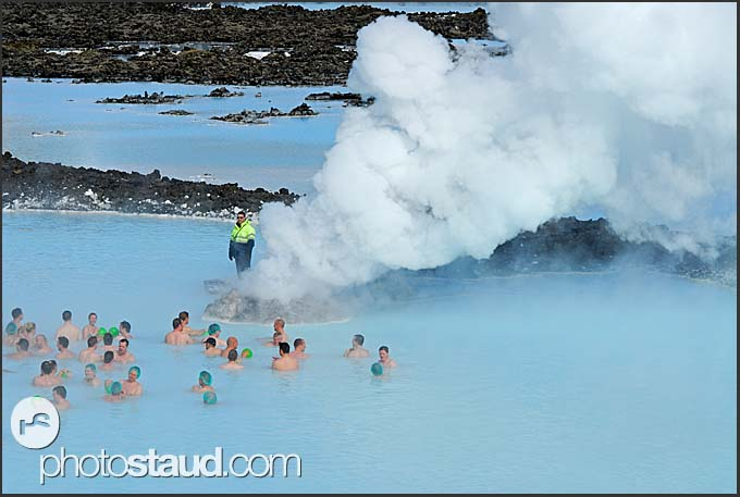 Tourists enjoying waters and fumes of Blue Lagoon, Iceland