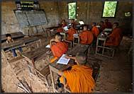 Buddhist monk standing in Angkor Wat, Cambodia
