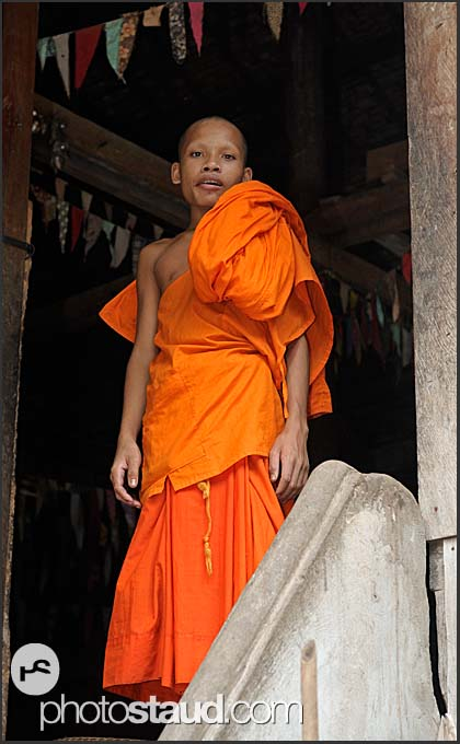 Buddhist monk novice in Lolei Temple, Angkor, Cambodia