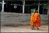 Buddhist monk in Lolei Temple, Angkor, Cambodia