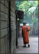 Buddhist monk trainee in Lolei Temple, Angkor, Cambodia