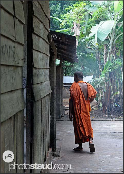 Buddhist monk in Lolei Temple, Angkor, Cambodia