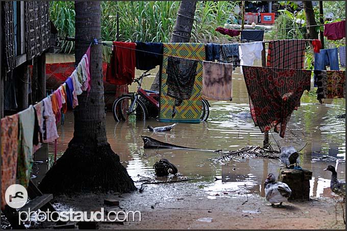 Floods in village, Cambodia