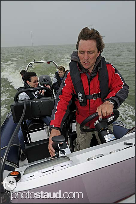 Harro van Dalen riding tourists on yacht charter, Holland, Europe