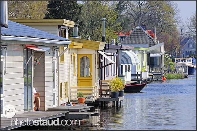 Houseboats in Dutch canal, Holland, Europe