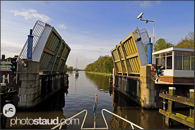 Bridge opening for boat, Holland, Europe