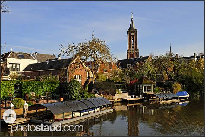 Sailing along Dutch canals, Holland, Europe