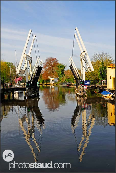 Bridge opening for passing boats, Holland, Europe