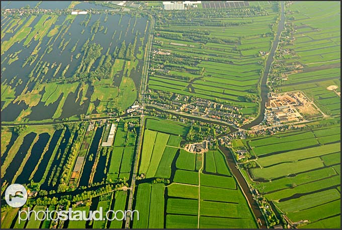 Aerial view of Dutch canals, Holland, Europe