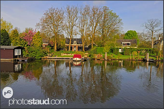 Picturesque scenery along Dutch canals, Holland, Europe