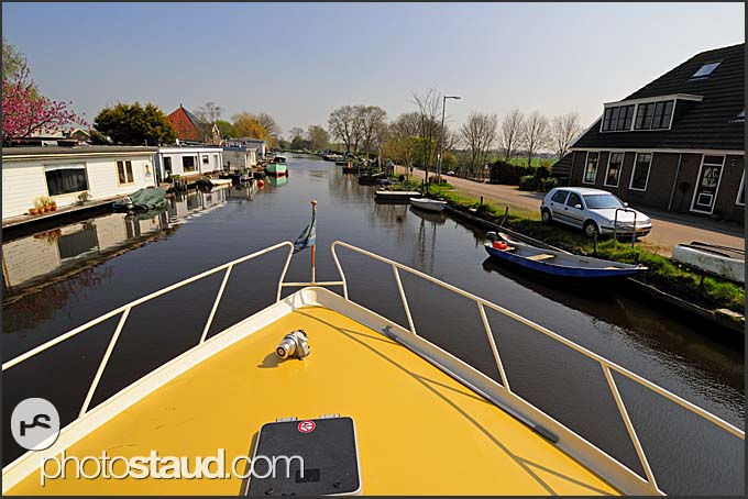 Yacht on Dutch canal, Holland, Europe