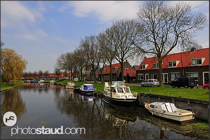 Scenery of Dutch canals, Holland, Europe