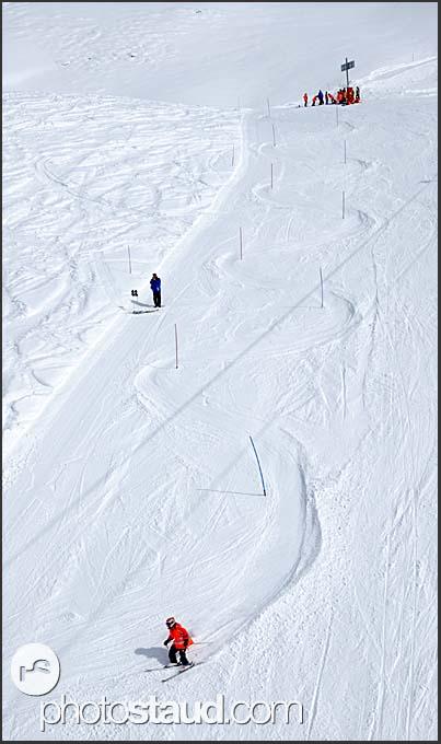 Skiing at Chandolin, Switzerland, Europe