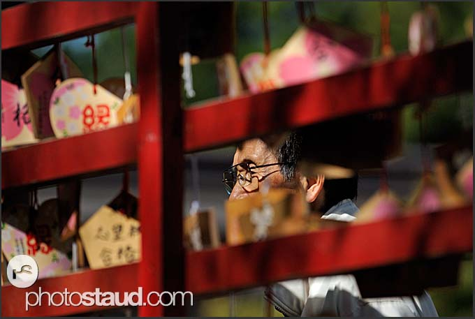 Japanese man in Gokoku Shinto Shrine, Sendai, Japan