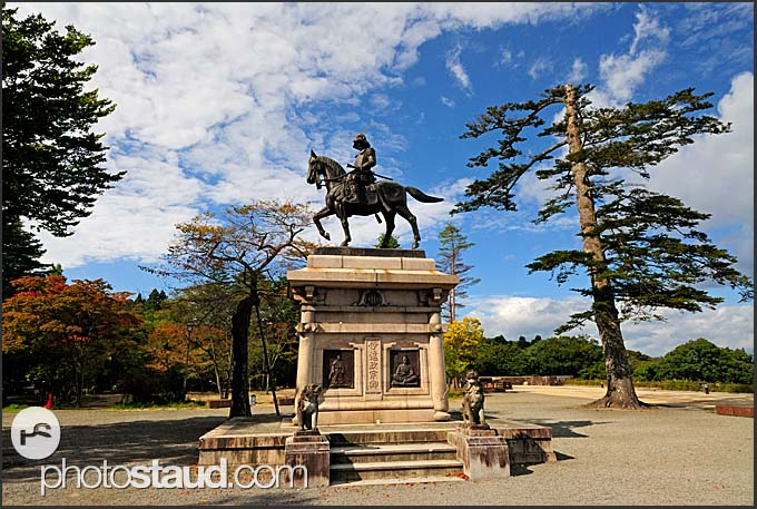 Statue of the powerful feudal lord Date Masamune at Aoba Castle, Sendai, Japan