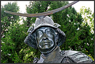 Close up portrait of lord Date Masamune statue, Sendai, Japan