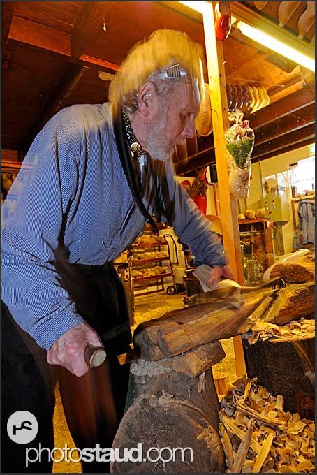 Shoemaker Ben van Woensel making wooden clog at De Vriendschap in Volendam, Holland, Europe