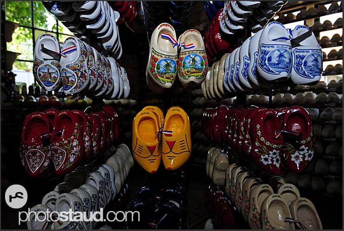 Wooden shoes hanging in souvenir shop, Holland, Europe