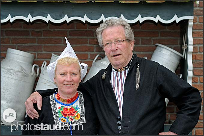 Ton Rikkers and Ria Out in front of Alida Hoeve, traditional Dutch farm, in Volendam, Holland, Europe