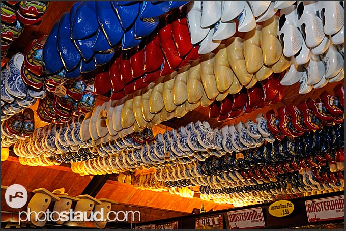 Wooden shoes hanging in souvenir shop at De Vriendschap in Volendam, Holland, Europe