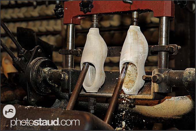Making traditional Dutch clogs at Ratterman shoemaker, Holland, Europe