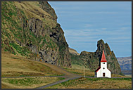 Isolated church of Vik on the south coast, Iceland