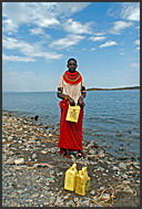 El Molo people drink water directly from Lake Turkana, which causes them many medical problems, Northern Kenya
