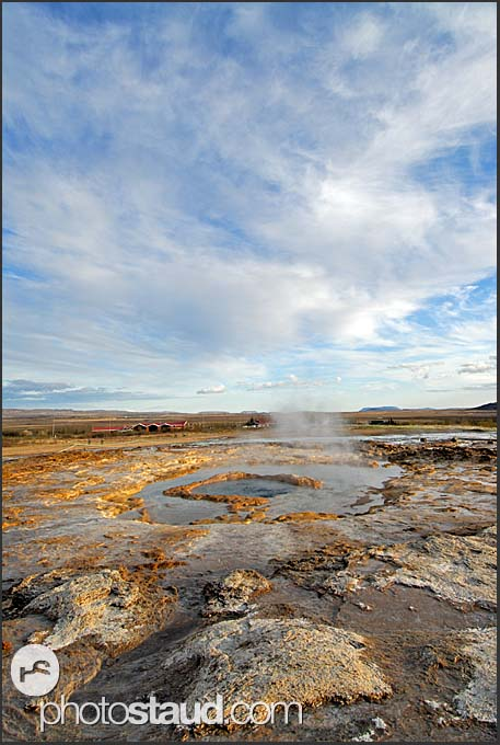 Strokkur geyser ready to spout hot water, Iceland