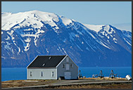 Colorful building of Whaling museum, Husavik Harbor, North Iceland