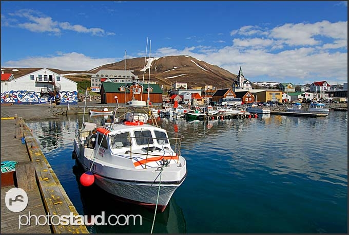 Fishing boats in Husavik Harbor, Iceland