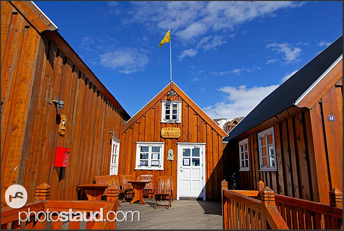 Gamli baukur restaurant in Husavik Harbor, North Iceland