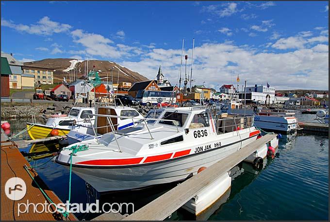 Fishing boats in Husavik Harbor, Iceland
